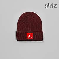 Шапка Jordan red tag Fisherman Beanie, зимняя теплая, цвет красный, фото 1