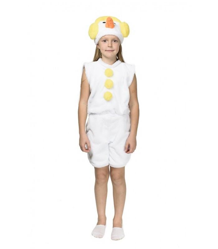 Карнавальный костюм СНЕГОВИК, СНЕГОВИЧОК для детей 3-7 лет, 104-122 см, детский новогодний костюм Снеговика