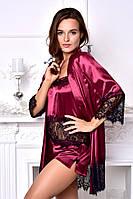 Атласный халат с пижамой Бордовый. Размеры от XS до XL. Разная цветовая гамма, фото 1