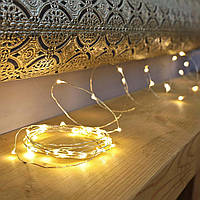 Гирлянда на батарейках 6м, новогодние украшения для декора, цвет тепло- белый, фото 1