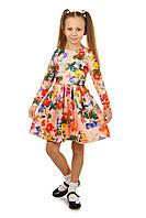 Трикотажное нарядное платье для девочки с длинным рукавом и пышной юбкой