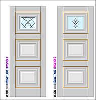 Двери межкомнатные, Родос, Versal, Irida, с одним стеклом и рисунком, middle molding
