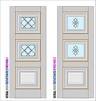 Двери межкомнатные, Родос, Versal, Irida, с двумя стеклами и рисунком, basic molding