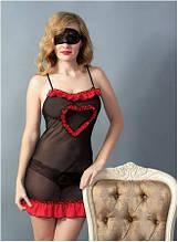 Эротическая сорочка пеньюар, комплект со стрингами Shato (эротическое женское нижнее белье)