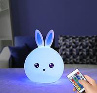 Ночник детский кролик оригинальный  с пультом светильник силиконовый