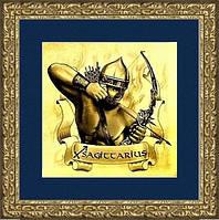 """Картина на золоте знак зодиака """"СТРЕЛЕЦ""""мужчина"""