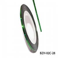 Лента для декора ногтей, зеленый, № 28