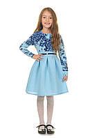 Голубое платье для девочки с синими вставками