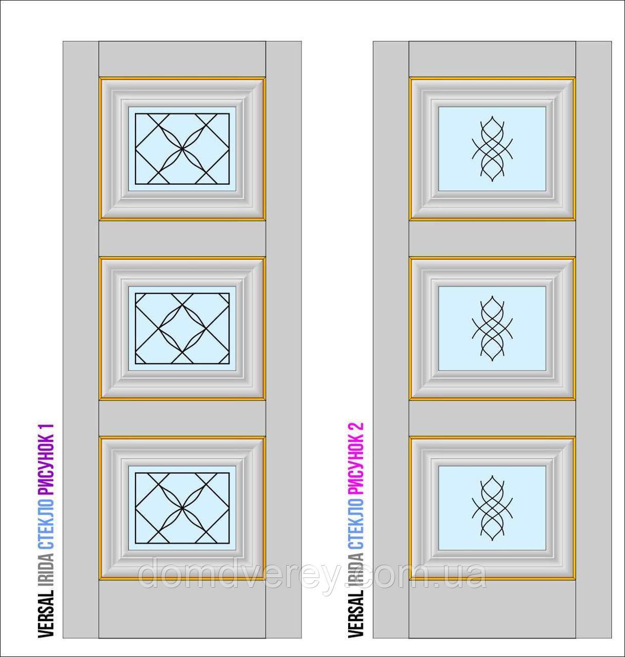 Двери межкомнатные, Родос, Versal, Irida, со стеклом и рисунком, basic molding
