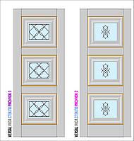 Двери межкомнатные, Родос, Versal, Irida, со стеклом и рисунком, small molding