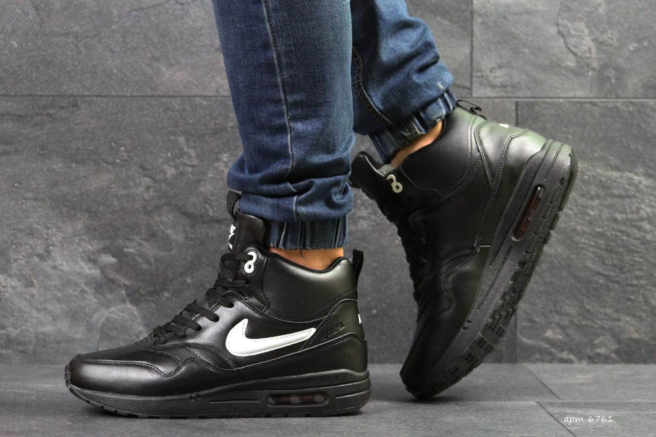 9c050cf01d26 Зимние мужские кроссовки Nike Air Max 87 реплика высокие пресс кожа, черные