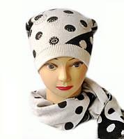 Женская шапка и шарф комплект Милана белого цвета в горох