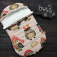 """Зимний Конверт-кокон для выписки из роддома """"Owls""""  (подходит в коляску до 5 мес) верх плащевка, фото 1"""