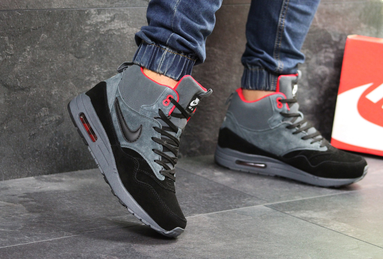 9bd194bdb10e Зимние мужские кроссовки Nike Air Max 87 реплика высокие замш, серо черные