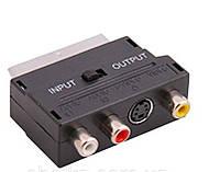 Переходник SH3007 / 3009, Переходник-адаптер scart с переключателем in/out, Переходник Scart аудио