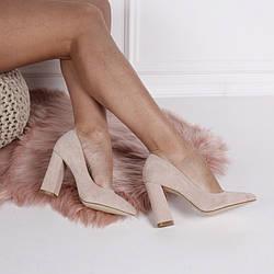 Демисезонные туфли - туфли острый нос, широкий каблук 9,5, беж, Эко замш, размер 36-40