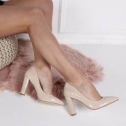 Демисезонные туфли - туфли острый нос, широкий каблук 9см, беж, эко лак, размер 36-40