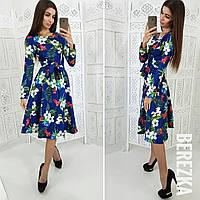 Женское модное платье с цветами (3 цвета), фото 1