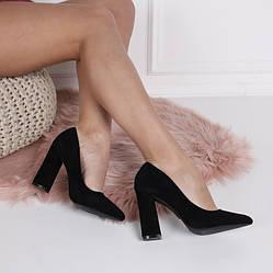 Демисезонные туфли - туфли острый нос, широкий каблук 9,5, черный, Эко замш, размер 37-41