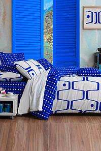 Постельное белье Eponj Home Geo Mavi голубой евро размер