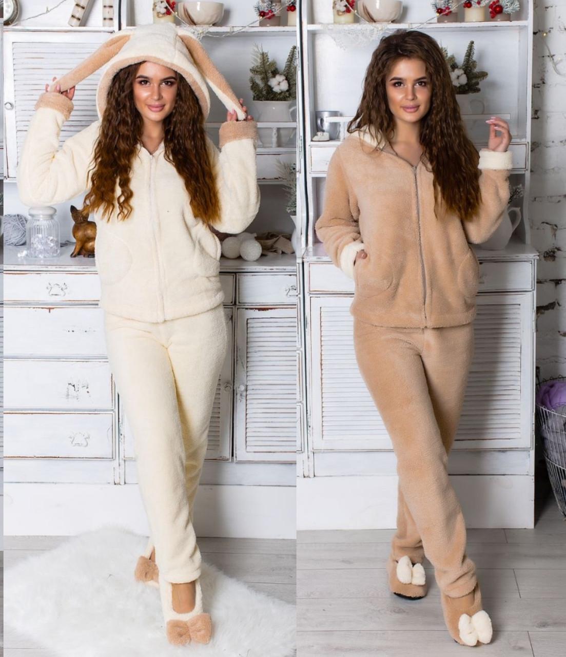 Махровая пижама с ушками Зайка женская -