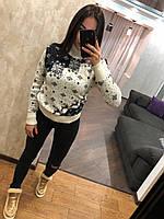 Женский вязаный свитер с зимним рисунком,белый.Турция, фото 1