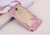 Чехол/Бампер со стразами для Meizu M5C Розовый (Силиконовый)