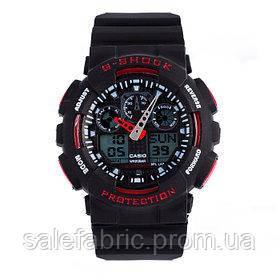 Спортивные наручные часы Casio G-Shock ga-100 Black-Red Касио