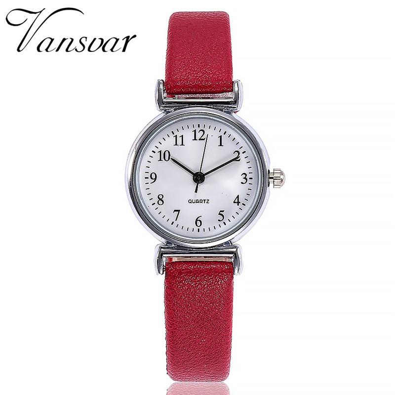 Женские наручные часы Vansvar 37483 | С красным ремешком