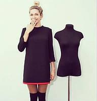 Платье черное с красной окантовкой внизу