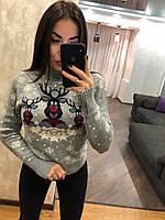 Жіночий в'язаний светр з зимовим принтом, світло сірий.Туреччина, фото 1