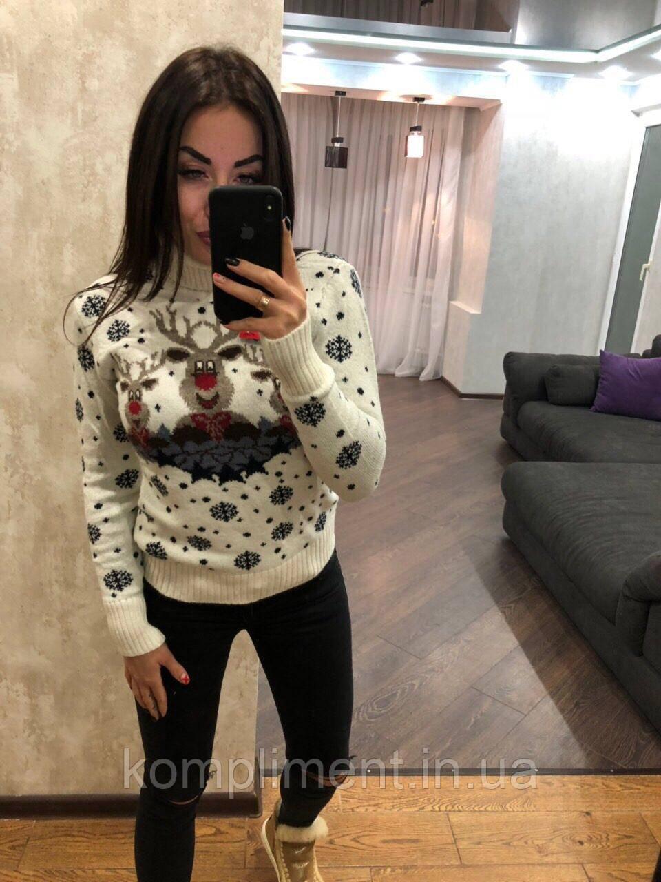 Жіночий в'язаний светр з зимовим принтом, білий.Туреччина