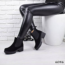 """Ботинки, ботильоны черные ЗИМА """"Mikis"""" НАТУРАЛЬНАЯ ЗАМША, повседневная, теплая, зимняя, женская обувь, фото 3"""