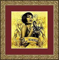 "Картина на золоте знак зодиака""СКОРПИОН""женщина"