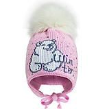 Зимняя шапка для девочки с натуральным бубоном (розовая и молочная) р-ры 46,48, фото 2