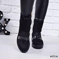 """Ботинки, ботильоны черные ЗИМА """"Bomond"""" эко замша, повседневная, зимняя, теплая, женская обувь, фото 3"""