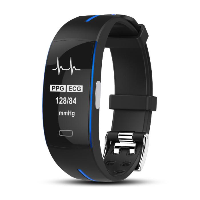 P3 Фитнес браслет с HD дисплеем тонометр ЭКГ кардио пульсометр для iPhone и Android трекер калории черно синий
