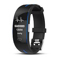P3 Фитнес браслет с HD дисплеем тонометр ЭКГ пульсометр для iPhone и Android трекер калории черно синий