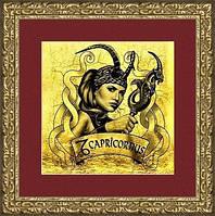"""Картина на золоте знак зодиака """"КОЗЕРОГ"""" женщина"""