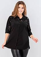 7b502e8f795 Женская блузка с гипюром черного цвета. Модель 19524. Размеры 48-54