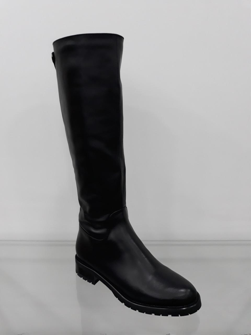 Женские зимние кожаные сапоги на низком ходу - Интернет магазин