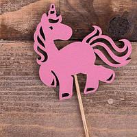 Топпер в торт Єдиноріг (дерево/рожевий)