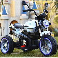 Детский электромобиль Мотоцикл BMW_BQ, 3-х колесный, Кожаное сиденье, Резиновые колеса, дитячий електромобіль