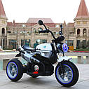 Детский электромобиль Мотоцикл BMW_BQ, 3-х колесный, Кожаное сиденье, Резиновые колеса, дитячий електромобіль, фото 4