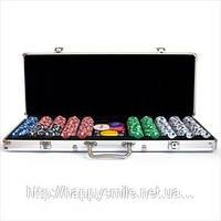 Покерный набор на 500 фишек без номинала в алюминиевом кейсе, подарок на 23 февраля