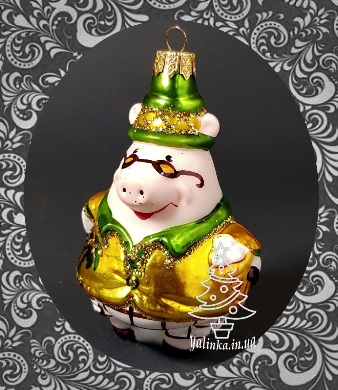 Стеклянная елочная игрушка Папа Свин