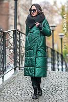 Зимний зелёный и чёрный плащ с трикотажным воротником