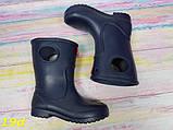 Детские резиновые сапоги непромокаемые на непогоду слякоть темно-синие К19d, фото 4