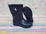 Детские резиновые сапоги непромокаемые на непогоду слякоть темно-синие К19d, фото 5