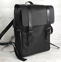451-1 Натуральная кожа, Рюкзак городской для ноутбука 17 /мужской/унисекс/дорожный, черный, ремни кожа